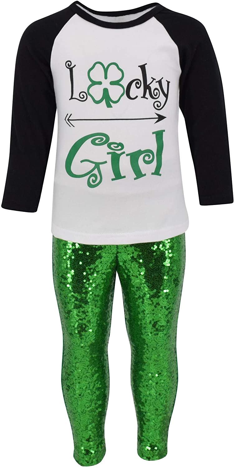 Unique Baby Girls 2 Piece Lucky Girl St Patrick's Day Leggings Outfit
