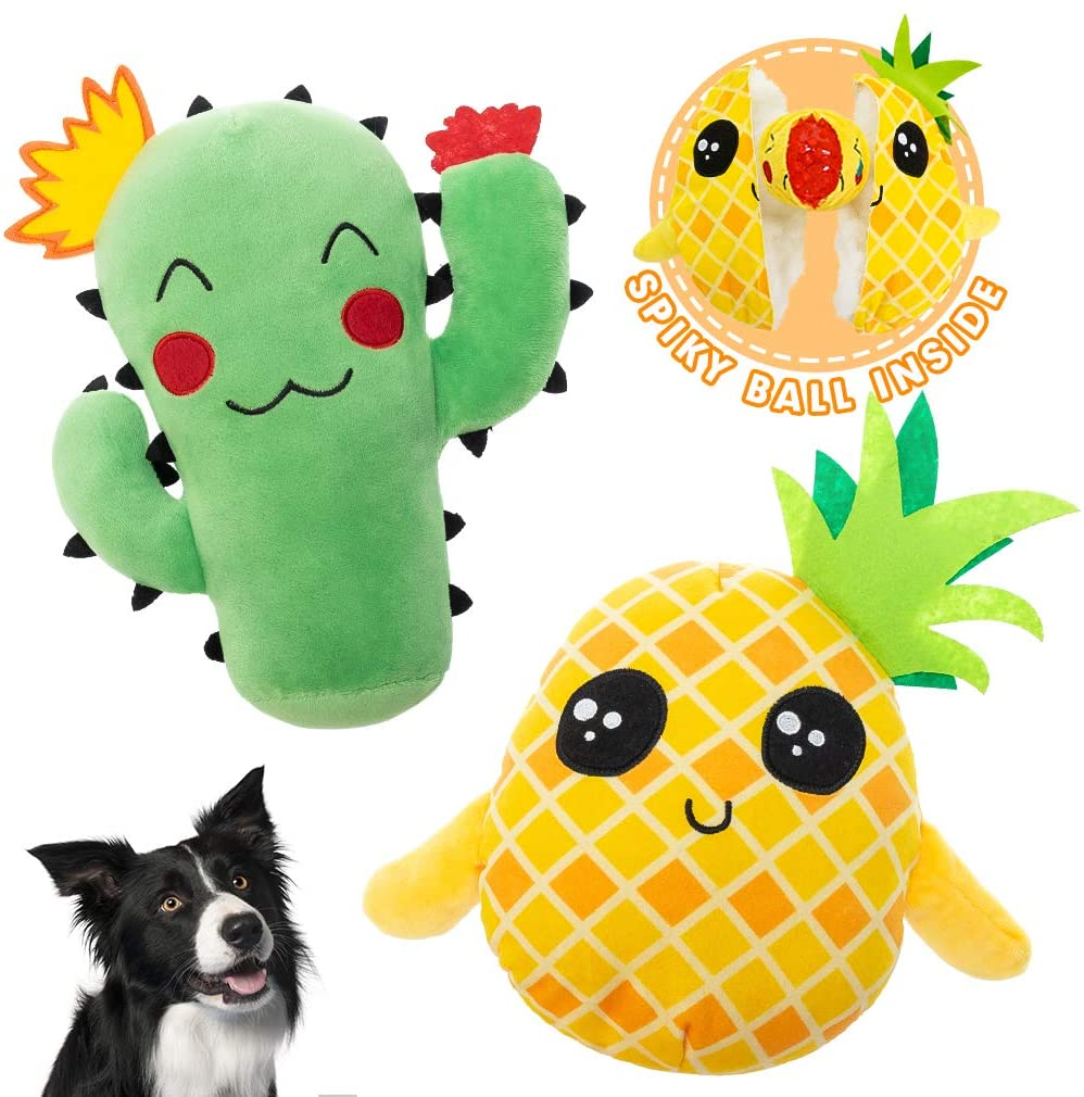 Dog Squeak Toys for Chewers - 2 Pack 2-in-1 Interactive Stuffed Plush Dog Toy with Surprise Ball Inside, Cute Durable Tug and Fetch Toys Pineapple and Cactus Pet Chew Toys for Small to Lagre Dogs