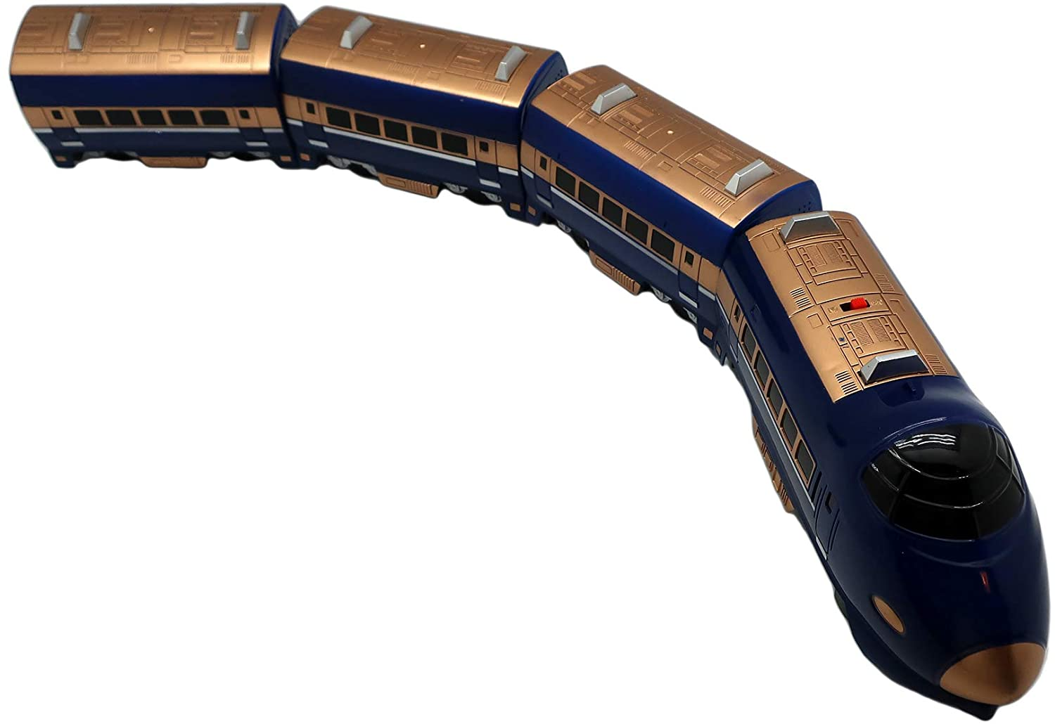 Forest & Twelfth Kids Super 757 Passenger Express Toy Train Bump N' Go Toy Model Train with Realistic Sounds (Blue)