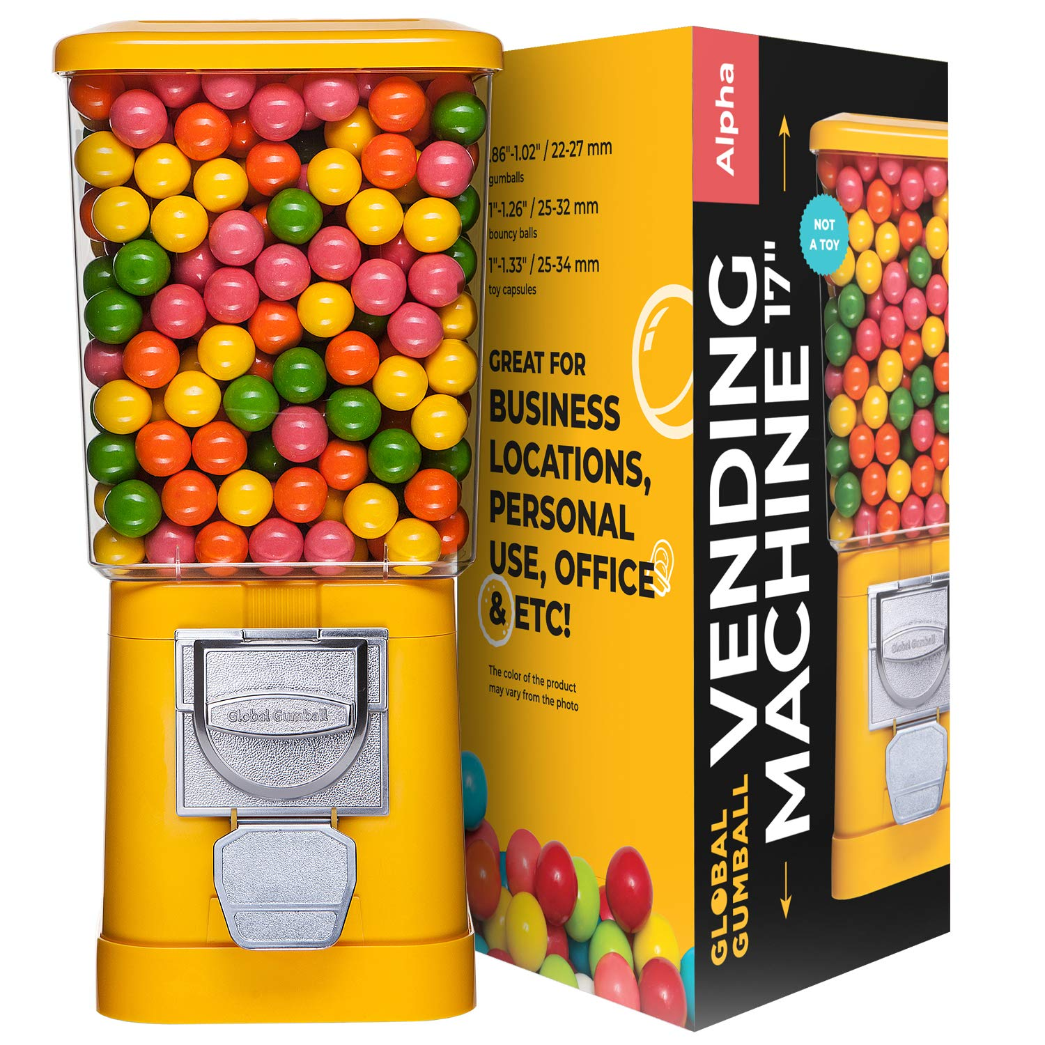 Gumball Machine - Bouncy Balls Vending Machine - Toys Vending Machine - Capsule Vending Machine - Yellow - Without Stand