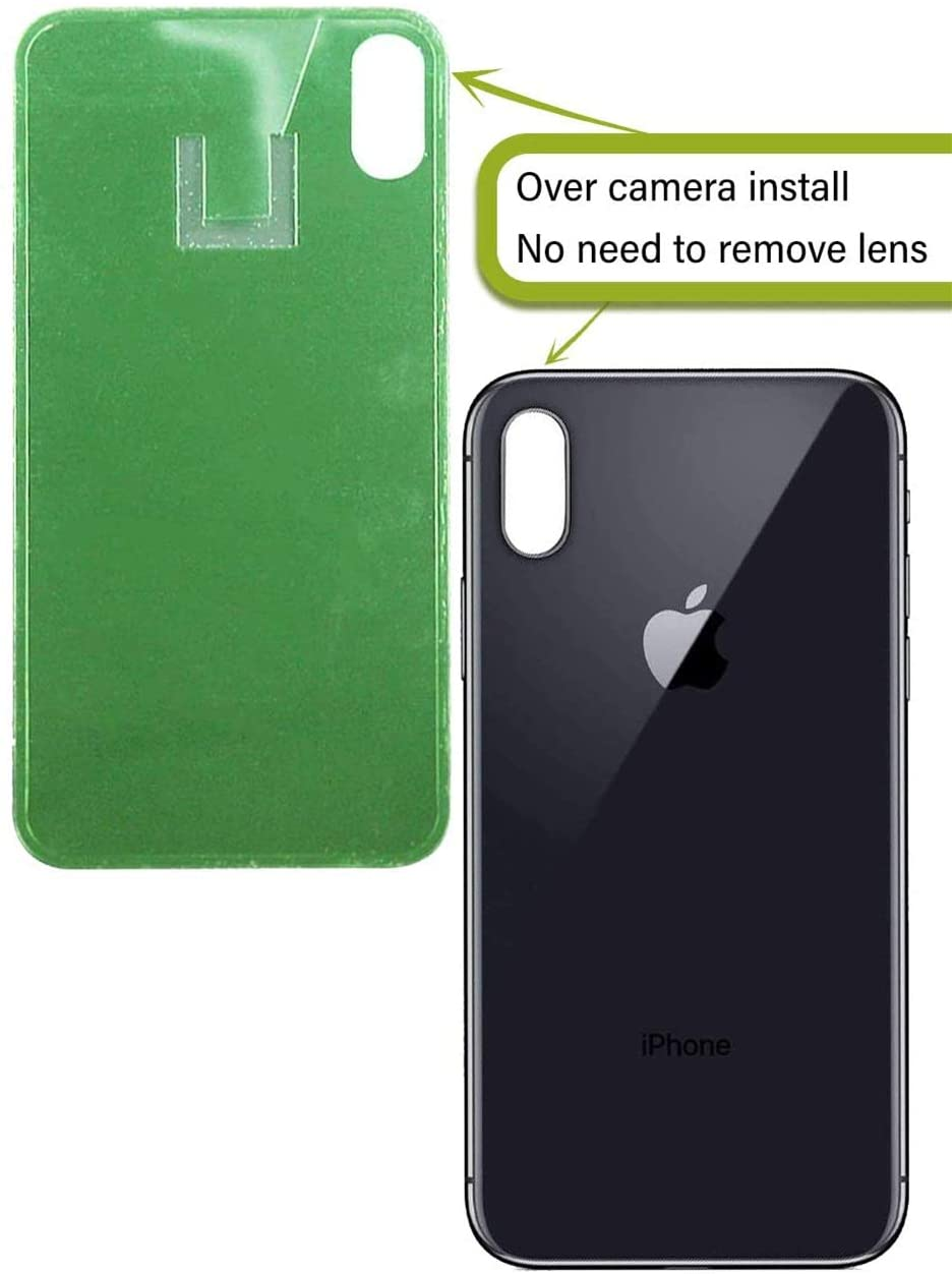 Back Glass Replacement Compatible w/The iPhone X Including Wide Camera Hole, Adhesive & Removal Tool (Space Grey)