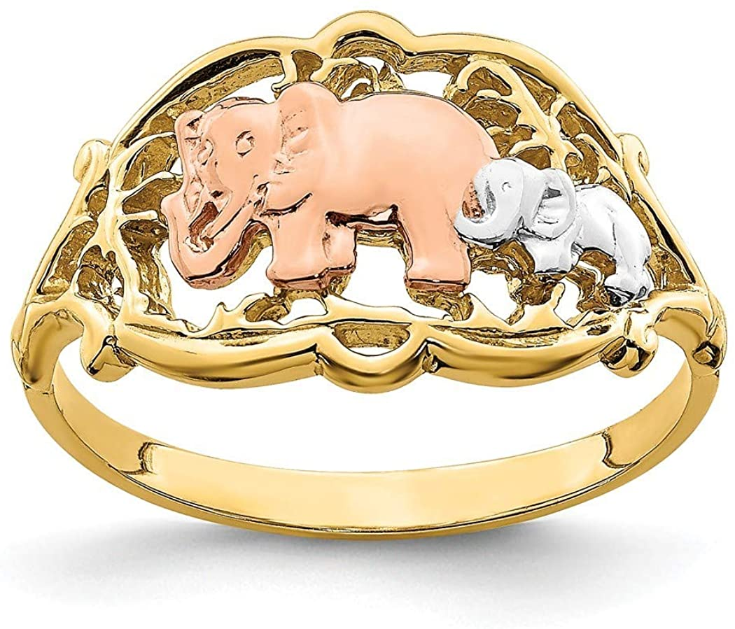 14k Gold Double Elephant Ring Tri color Size 7 Jewelry Gifts for Women