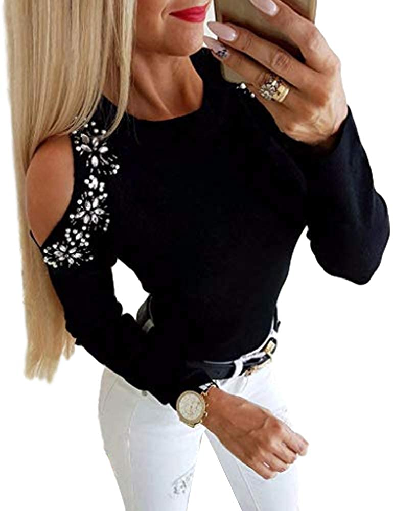 Women's Off Shoulder Sequins Tunic Tops Long Sleeves V-Neck Slim T-Shirt Blouse Tops
