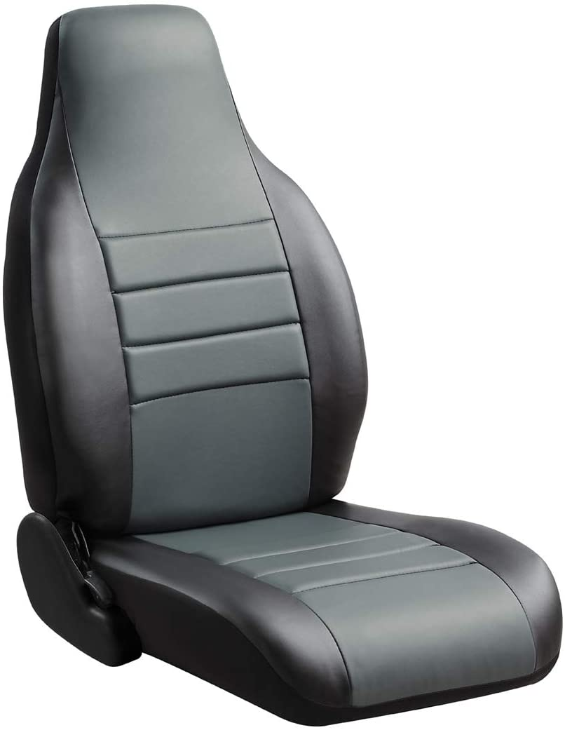 FIA SL67-67 Gray Custom Fit Front Seat Cover Bucket Seats - Leatherette (Black w/Gray Center Panel)