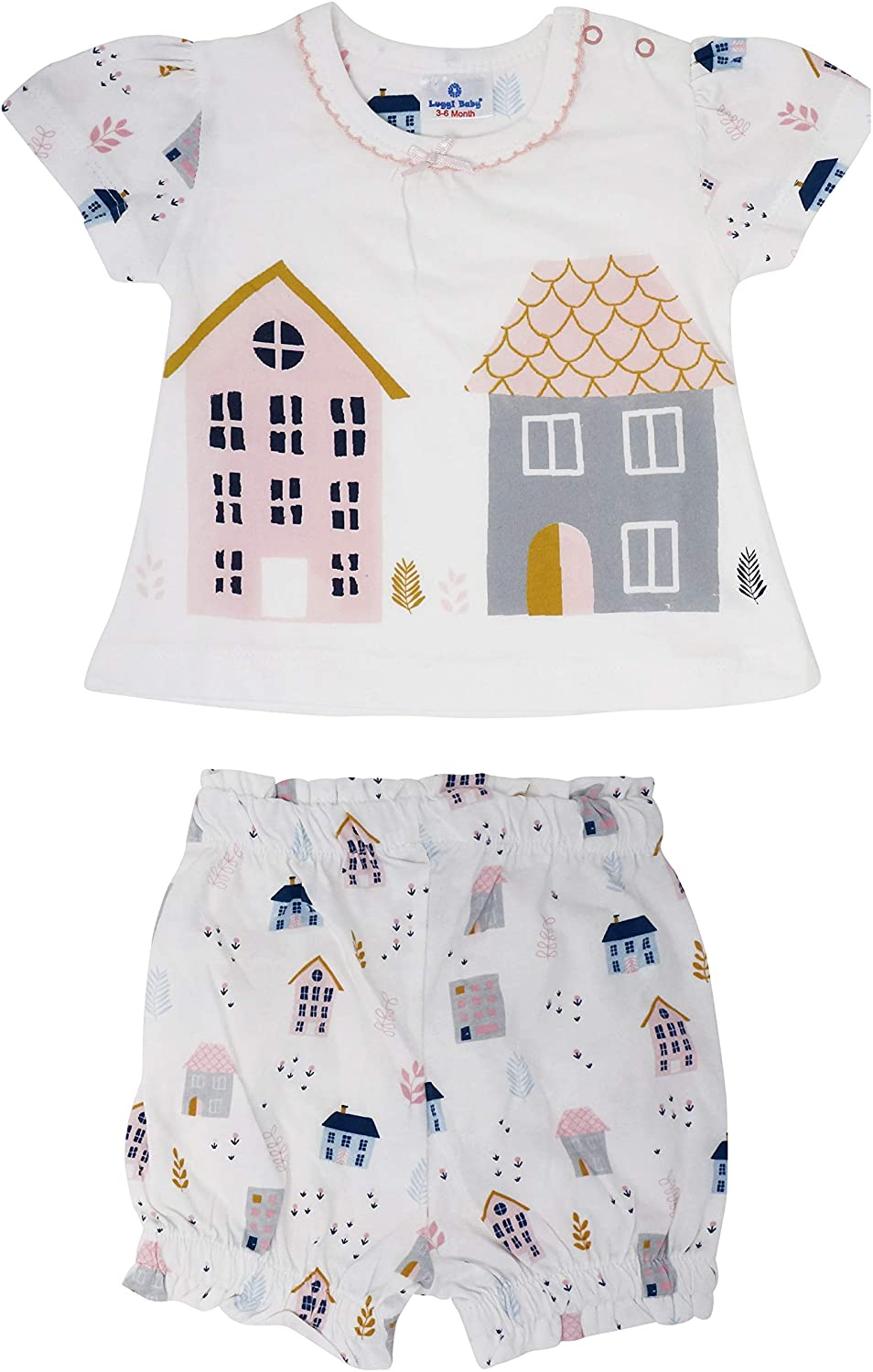 Luggi Baby Girls Romper & Shorts with House Pattern (3-36 Months-3T)