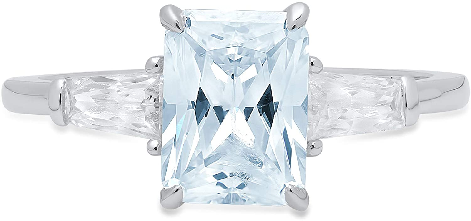 1.97ct Emerald Baguette cut 3 stone Solitaire with Accent Natural Sky Blue Topaz Gem Stone VVS1 Designer Modern Statement Ring Solid 14k White Gold Clara Pucci