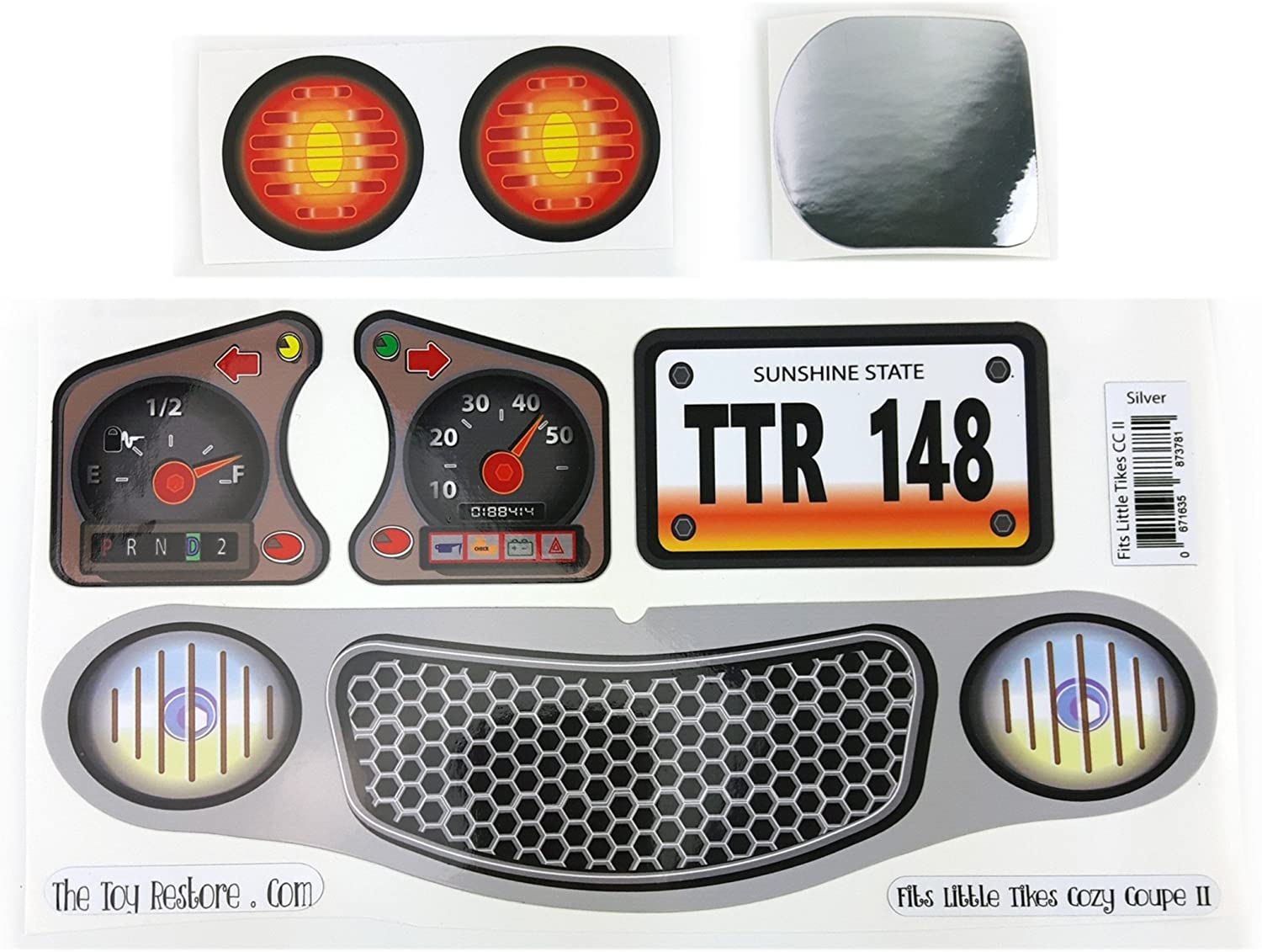 The Toy Restore Replacement Decals Stickers Fits Little Tikes Cozy Coupe II Grey