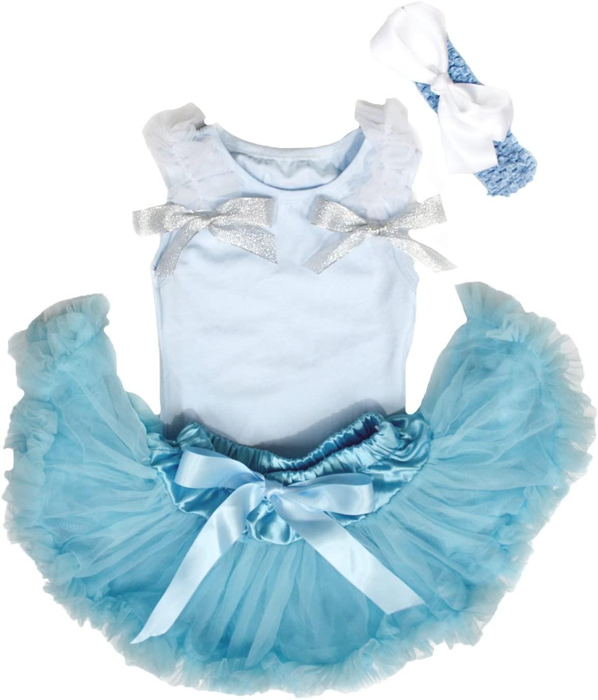 Princess Blue Shirt Pettiskirt Baby Skirt Clothing Set for Girl Nb-12m