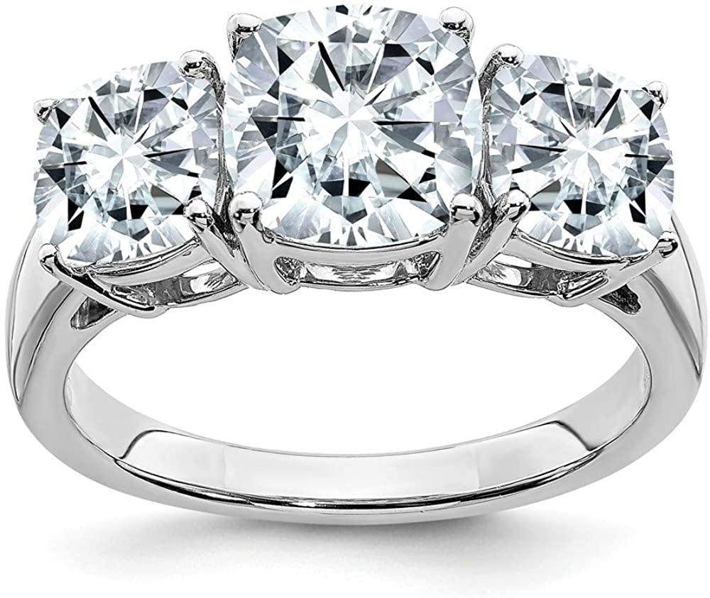 14k White Gold 2.5ct. Cushion Three Stone Moissanite Engagement Ring
