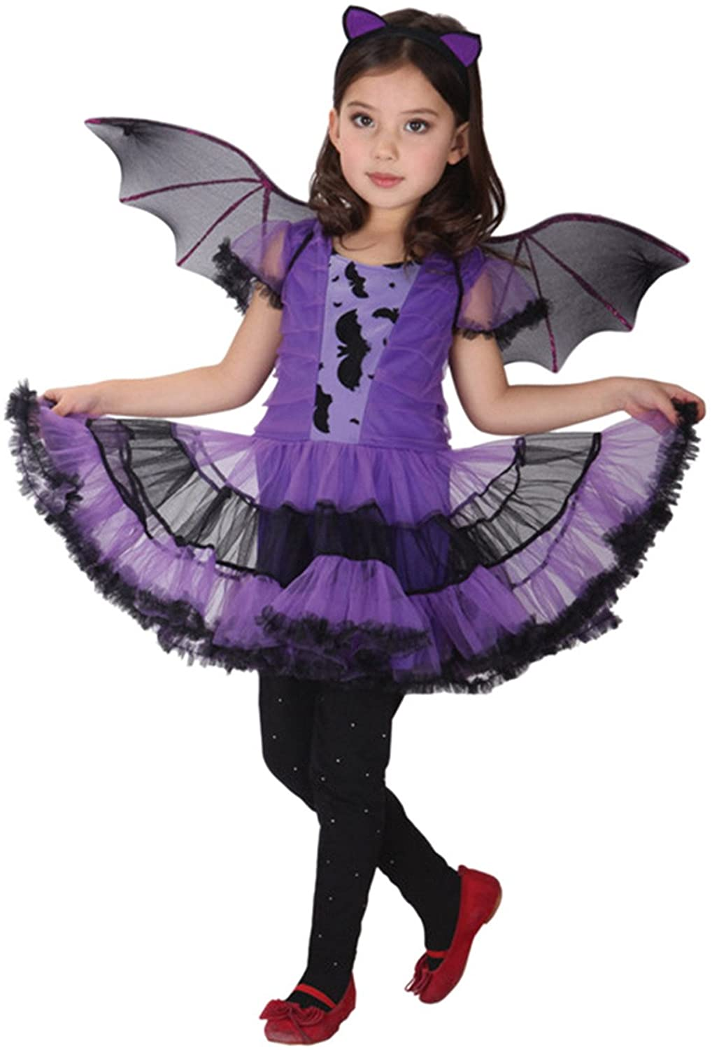 Jelord Girl Halloween Costume Cosplay Outfits Tutu Dress with Wing Headband
