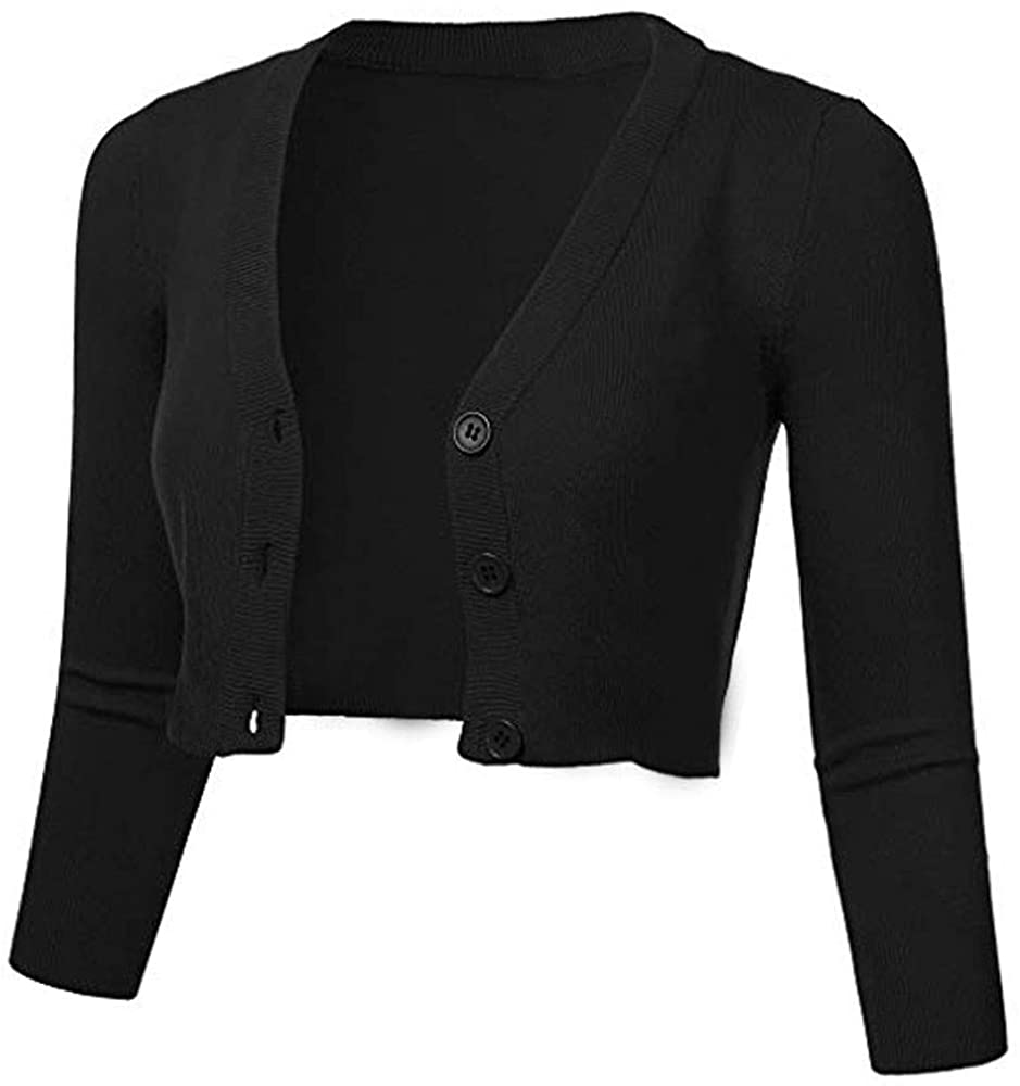 Oliviavan Women Solid Casual Button Down 3/4 Sleeve Cropped Bolero Short Coat Cardigan Cover Up