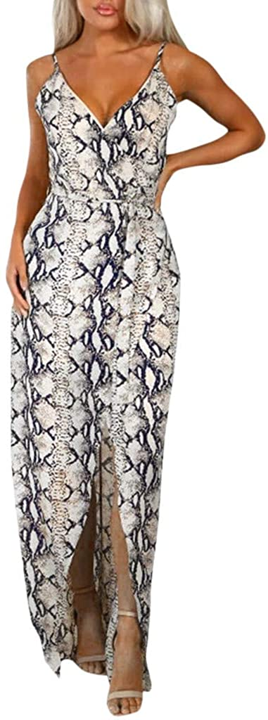 Mlide Womens Bohemian Suspender Skirt Sexy V-Neck Sleeveless Split Beach Party Maxi Dress Fashion Dot Print