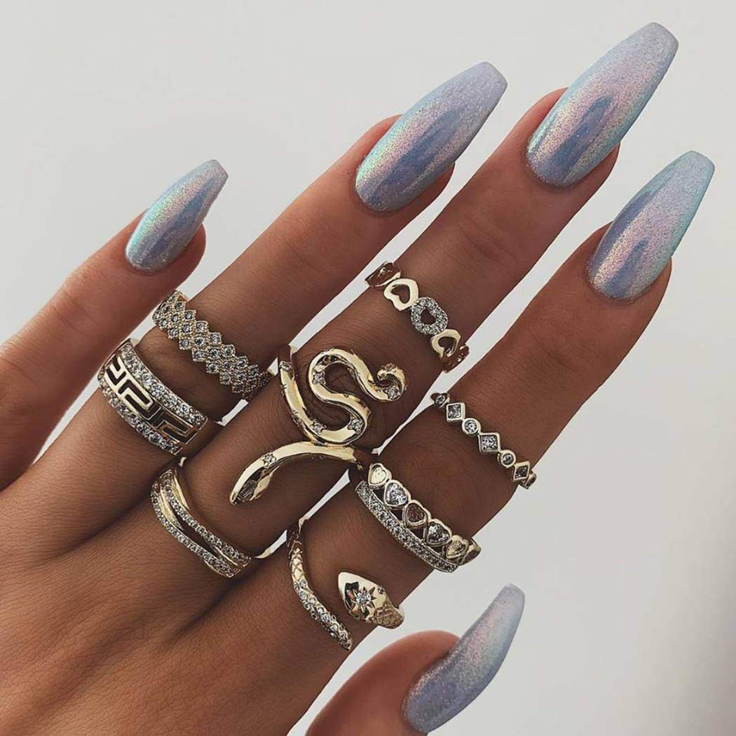 Nicute Gold Rhinestone Stackable Joint Knuckle Ring Vintage Carving Snake Finger Rings Set for Women and Girls(8 Pieces)
