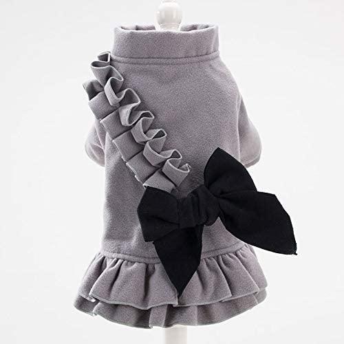 XIANG Dog Clothes Winter Autumn Warm Wool Pet Clothes Princess Bowknot Dress for Dog Cat Gray M