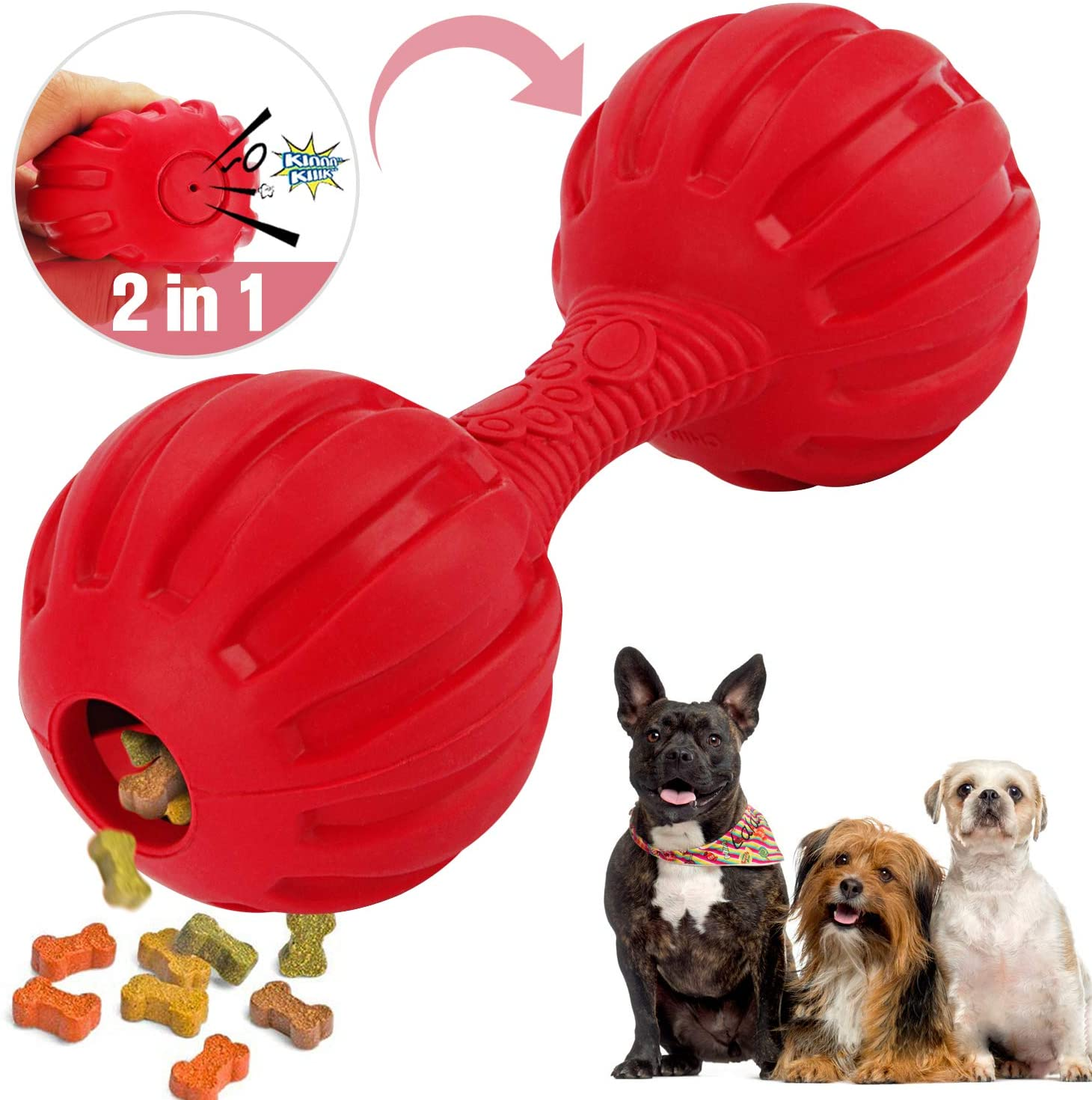 VANFINE 2 in 1 Dog Squeaky Toys - Dog Ball Toys- Food Dispensing Dog Toy IQ Training Teeth Cleaning Playing -Dog Toys for Boredom - Dog Treat Bal