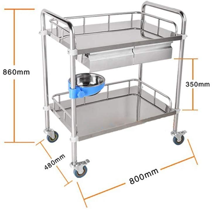 HTL Serving Cart, Storage Rack,-Medical Cart Tool 2 Tier Beauty Hairdresser Cart with Drawers & Dirt Bucket, Medical Utility Rolling Trolley with Mobile Brake Wheel, 86Cm Height,L-804886