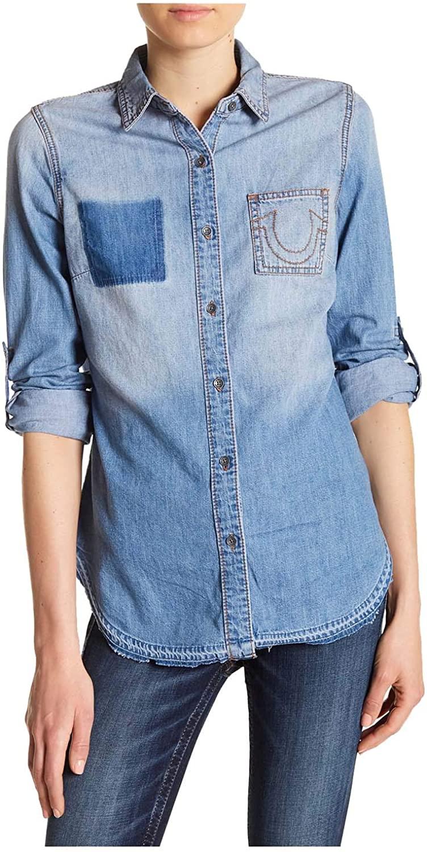 True Religion Women's Boyfriend Paneled Button Down Shirt-Spring Daze