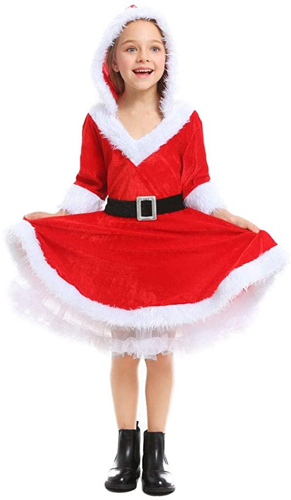 LMYOVE Girls Mrs Santa Helper Christmas Dress Outfit Costume