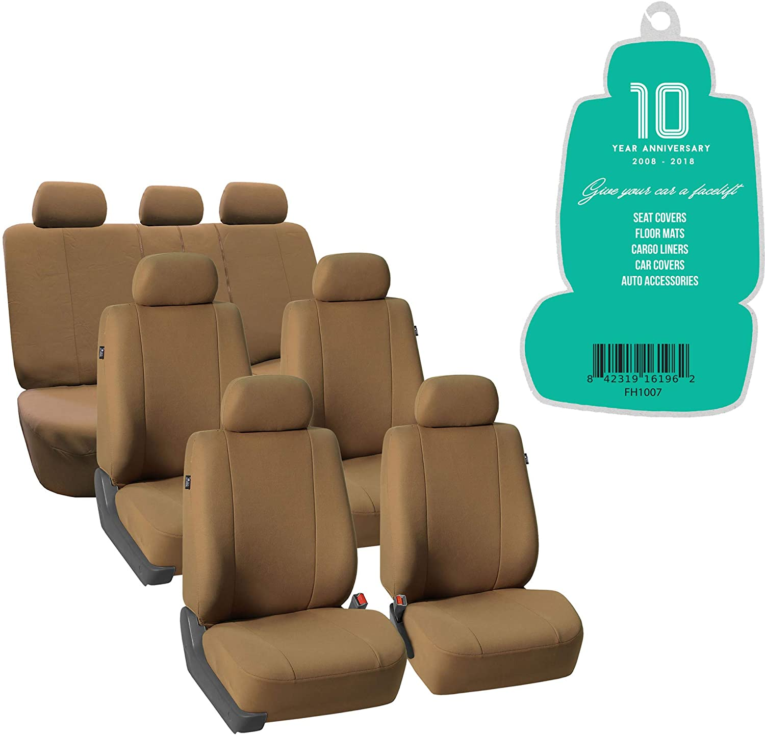 FH Group FH-FB052217 3 Row Multifunctional Flath Cloth Car Seat Covers, Airbag Compatible and Split Bench, Taupe- Fit Most Car, Truck, SUV, or Van