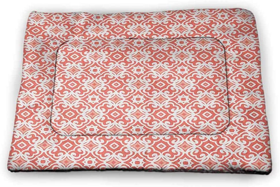 Muyindo Coral Printed Pet Cushion Geometric Art Deco Pattern with Lacing Shapes 30s Style Vintage Motifs Washable Puppy Pad Coral Pale Coral White 35