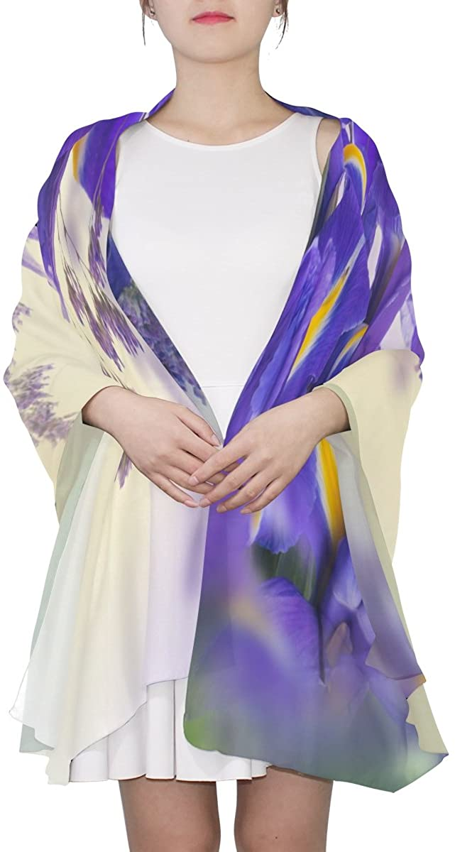 Ethel Ernest Purple Iris Hydrangea Bouquet Womens Silk Scarf Lightweight Shawl Soft Long Scarves