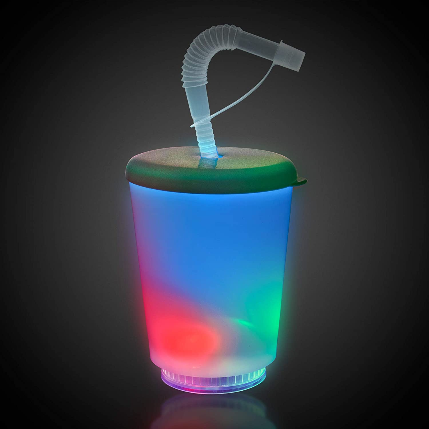 Flashing Panda 10 oz LED Light-Up Multi-Color Flashing Cup with Lid and Straw
