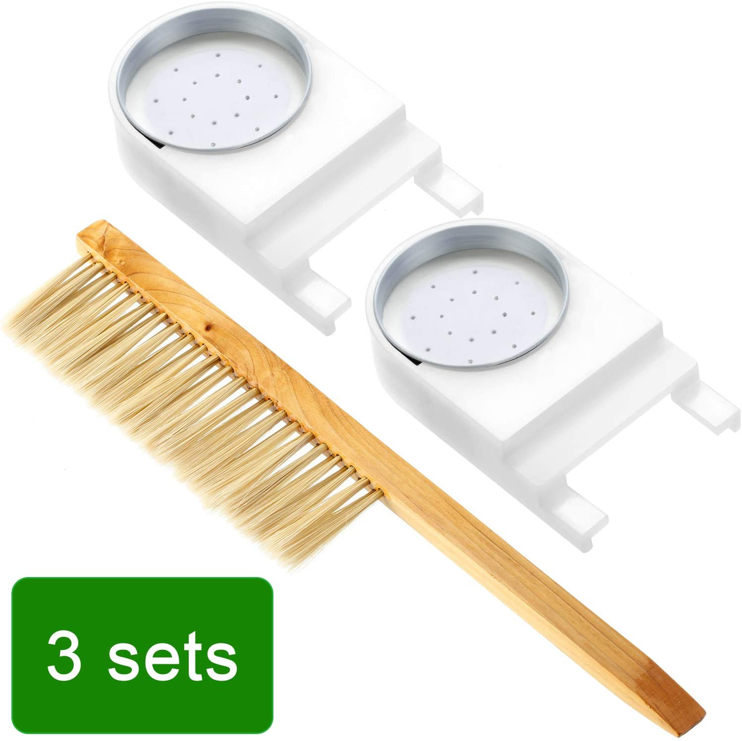 Entrance Feeder Entrance Bee Feeder with Beehive Brush Tool for Bee Hives Fits Most Small Mouth Canning Jars Sugar Syrup for Bees Beekeeper Tool, 3 Pieces