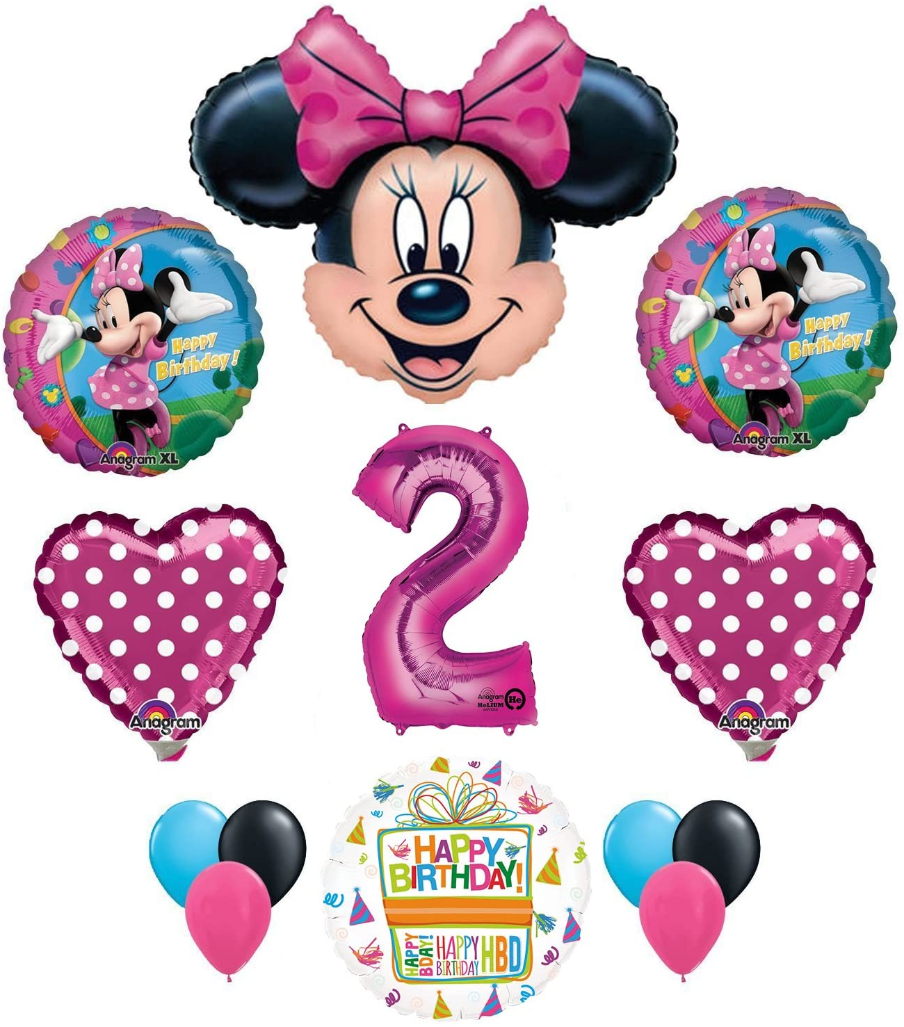 Mayflower Products Minnie Mouse 2nd Birthday Party Supplies and Pink Bow 13 pc Balloon Decorations