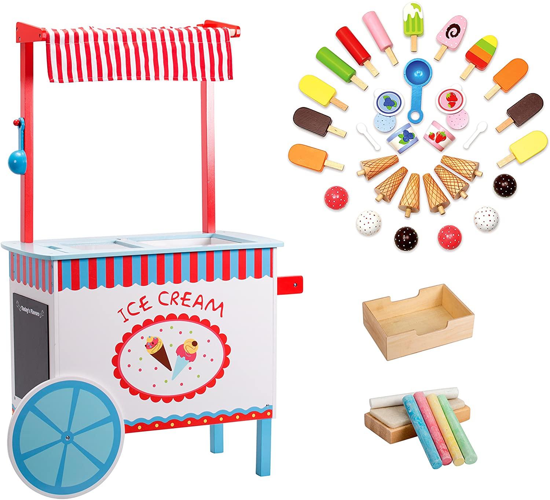 Ice Cream Cart Kids Playstand- Premium Wood 33+ Piece Realistic Wooden Play Set w Money Box, Chalk, Chalkboard and 30+ Icecream Accessories