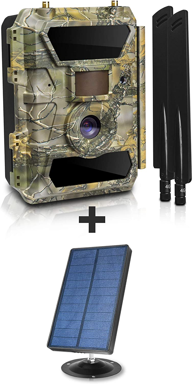 Only Solar Panel + LTE 4G Cellular Trail Camera - Outdoor WiFi FullHD Wild Game Camera with Night Vision for Deer Hunting, Security - Wireless Waterproof and Motion Activated – 32GB SD Card + Sim Card