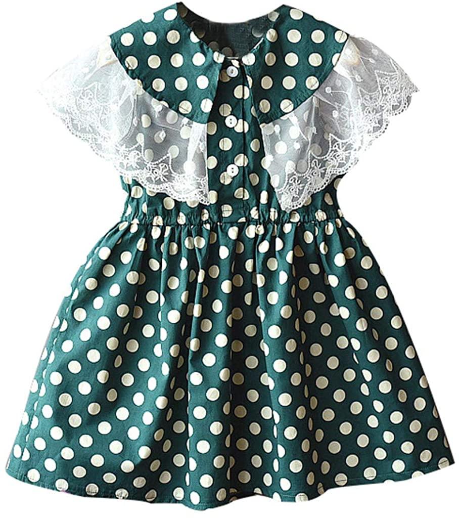 ZEFOTIM Baby Girls Dress,Toddler Baby Kids Girls Lace Patchwork Dot Print Princess Dresses Casual Clothes 2-7Y