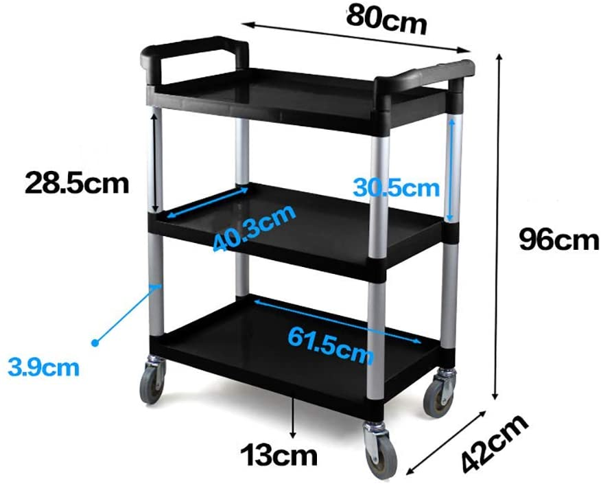 cart Hospital Trolley, Medical Supplies Rack-Medical Cart Tool 3 Tier Hotel Catering Cart with Wheel, Kitchen Dining Cart, Black Fast Food Restaurant Dish Cart, 70 Kg Capacity, 804296 cm