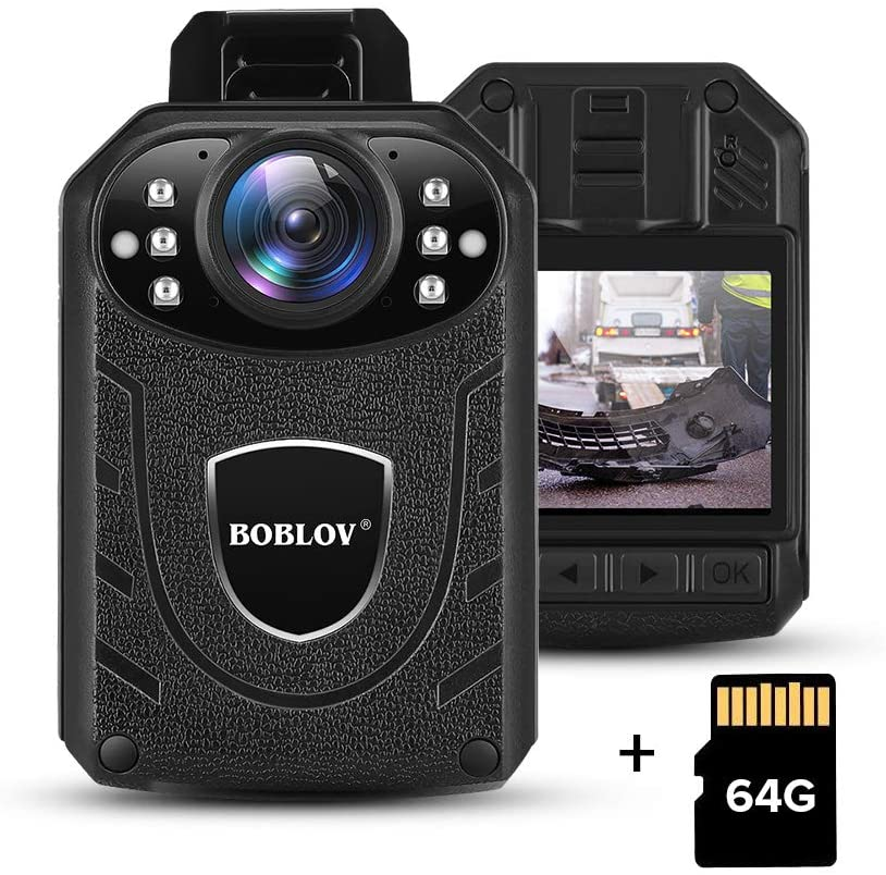 BOBLOV 1296P Body Wearable Camera 64GB Support Memory Expand Max 128G 8-10Hours Recording Police Body Camera Lightweight and Portable Easy to Operate KJ21(Cam+64G (64GB)