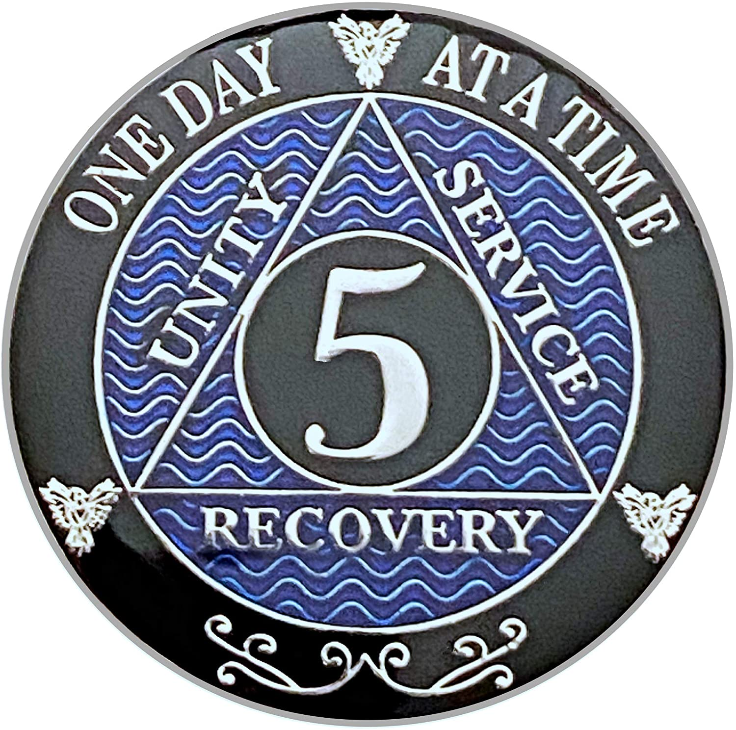 (1-10) Year AA Coin Silver Color Plated-Medallion, Recovery Chip, 12 Step Token, Alcoholics Anonymous Coin