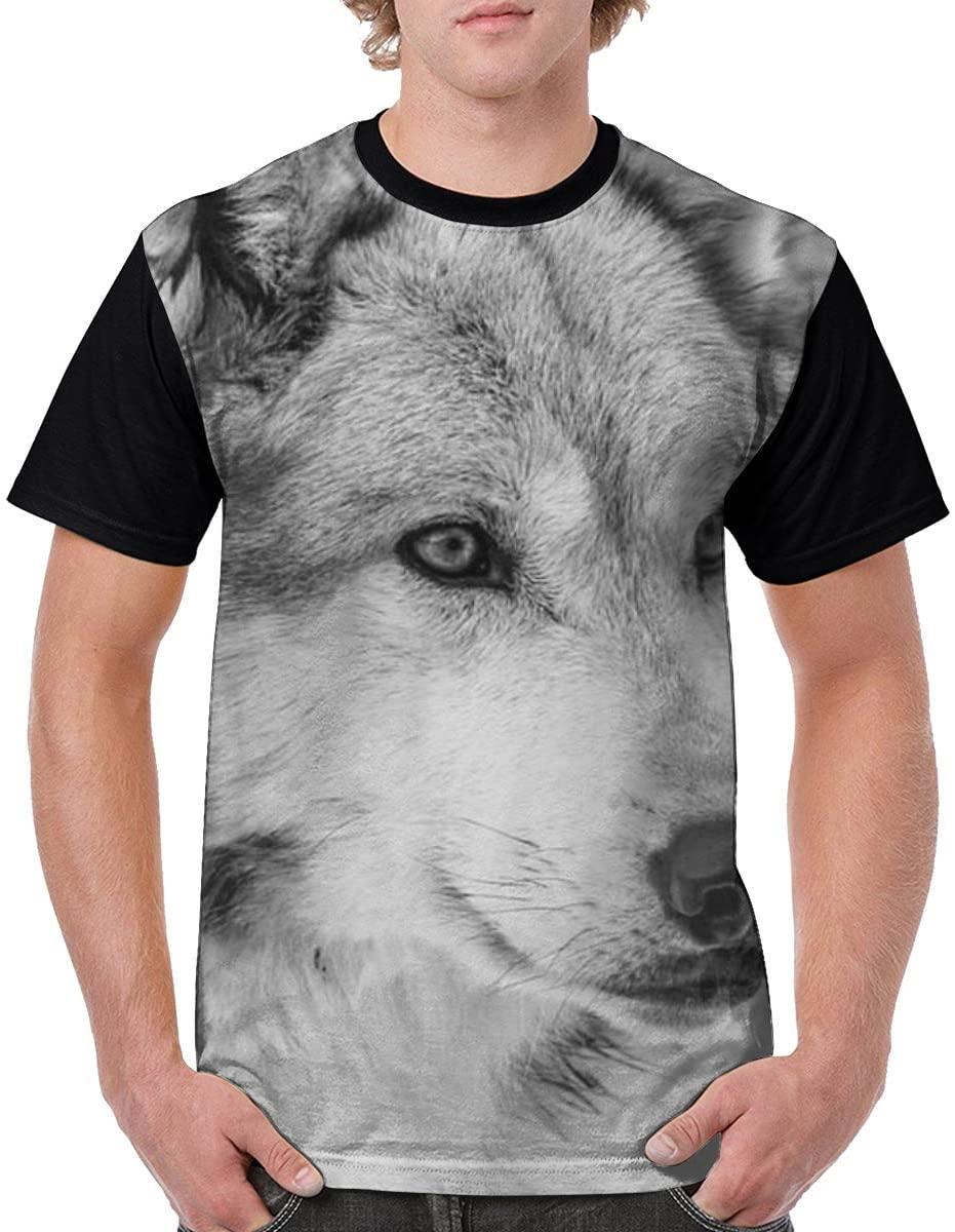 Qiazooa Mans Grey Wolf Classic Short Sleeve Printed Tops Fashion Casual T Shirt Crew Neck Tshirts