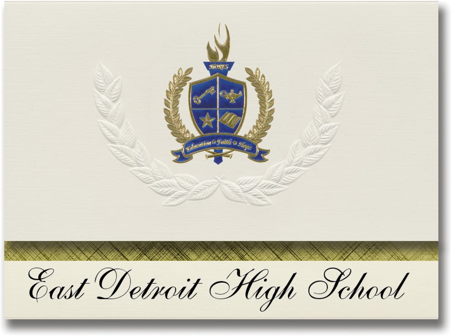 Signature Announcements East Detroit High School (Eastpointe, MI) Graduation Announcements, Presidential style, Elite package of 25 with Gold & Blue Metallic Foil seal