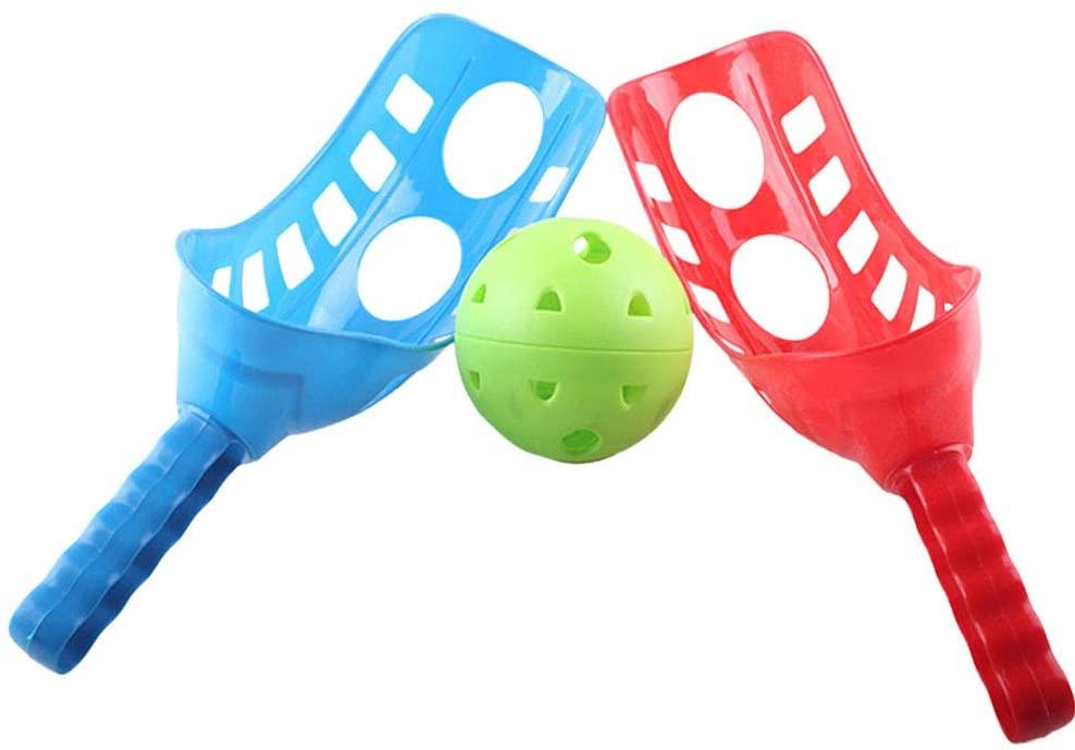 LIOOBO Fun-Air Scoop Ball Scoop Trackball Sport Trac Ball Lacrosse Racket Lacrosse Activities, Improve Hand Eye Coordination for Lawn Camping Beach (Random Color)