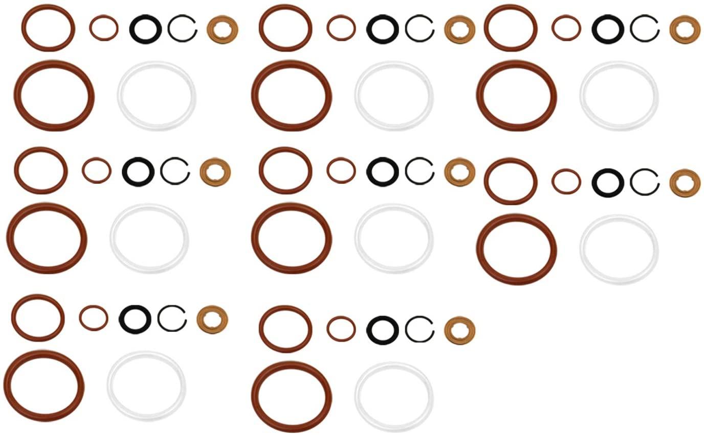 G2.8 Injector Seal Kit for Ford Powerstroke 4.5L LCF 2006-2010 6.0L 2003-2010 6.0L Navistar 2002.5-2010 3C3Z9229AA CM5055 1843682C91 (Set of 8)