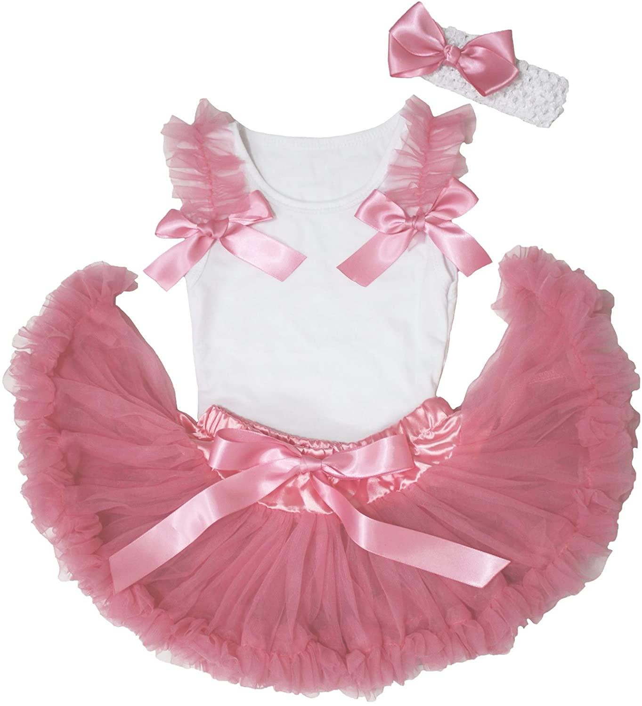 White Top Shirt Dusty Pink Ruffle Bow Newborn Baby Girl Pettiskirt Set 3-12m
