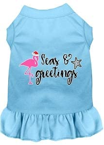 Mirage Pet Product Seas and Greetings Screen Print Dog Dress Baby Blue Lg