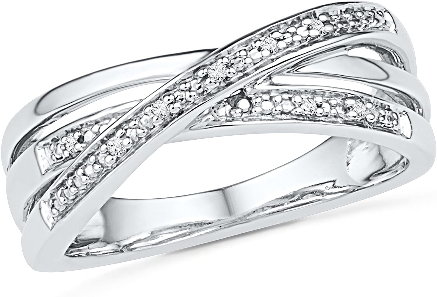 D-GOLD Sterling Silver Round Diamond Twisted Fashion Ring (0.03 cttw)