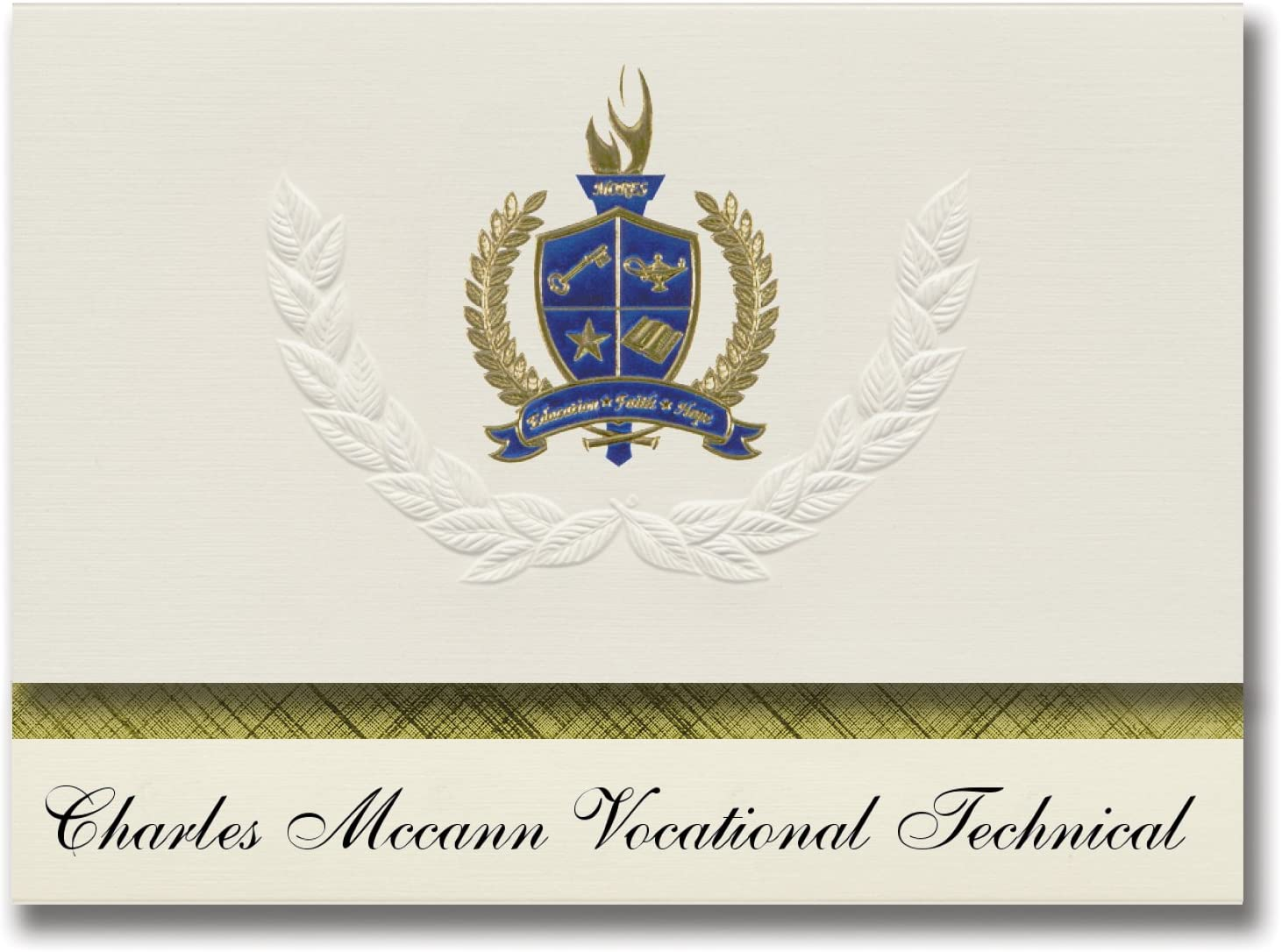 Signature Announcements Charles Mccann Vocational Technical (North Adams, MA) Graduation Announcements, Presidential Basic Pack 25 with Gold & Blue Metallic Foil seal
