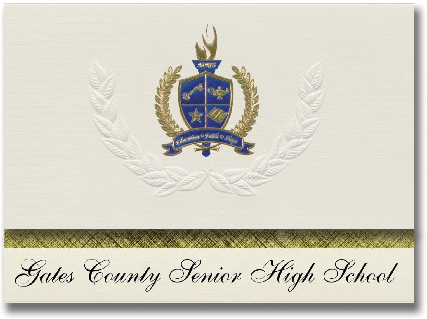 Signature Announcements Gates County Senior High School (Gatesville, NC) Graduation Announcements, Presidential Basic Pack 25 with Gold & Blue Metallic Foil seal