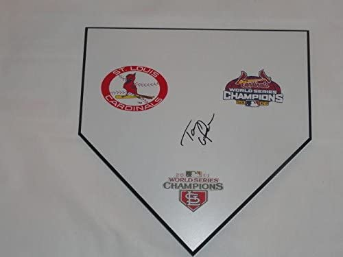 Tony Larussa Signed Home Plate St. Louis Cardinals World Series Rare - MLB Game Used Bases