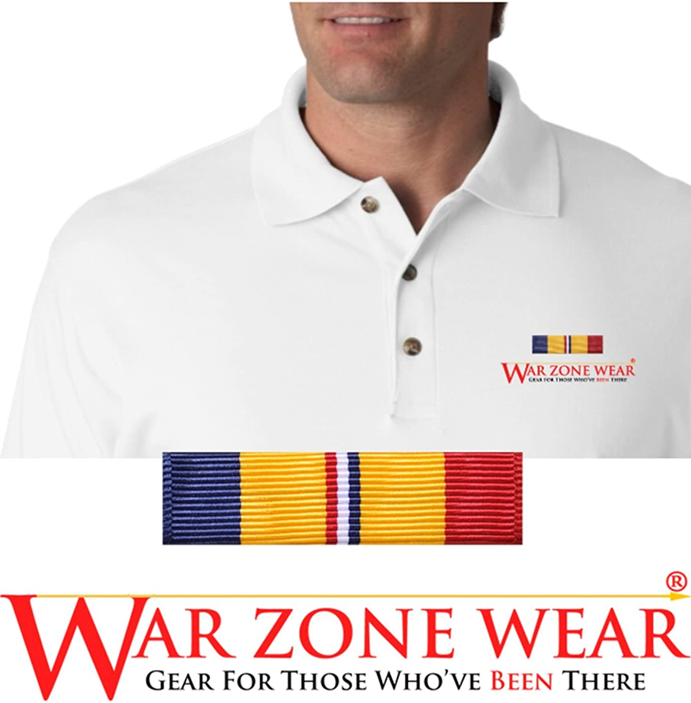 War zone Wear, LLC Embroidered Polo Shirt W/Combat Action Ribbon