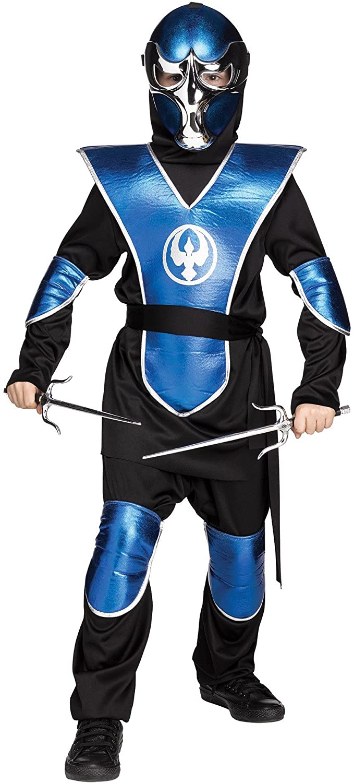 Fun World Blue Chrome Raven Ninja Boys Halloween Costume