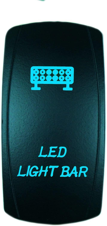 STVMotorsports Laser Backlit Blue Rocker Switch LED Light BAR 20A 12V On/Off LED Light (Blue)