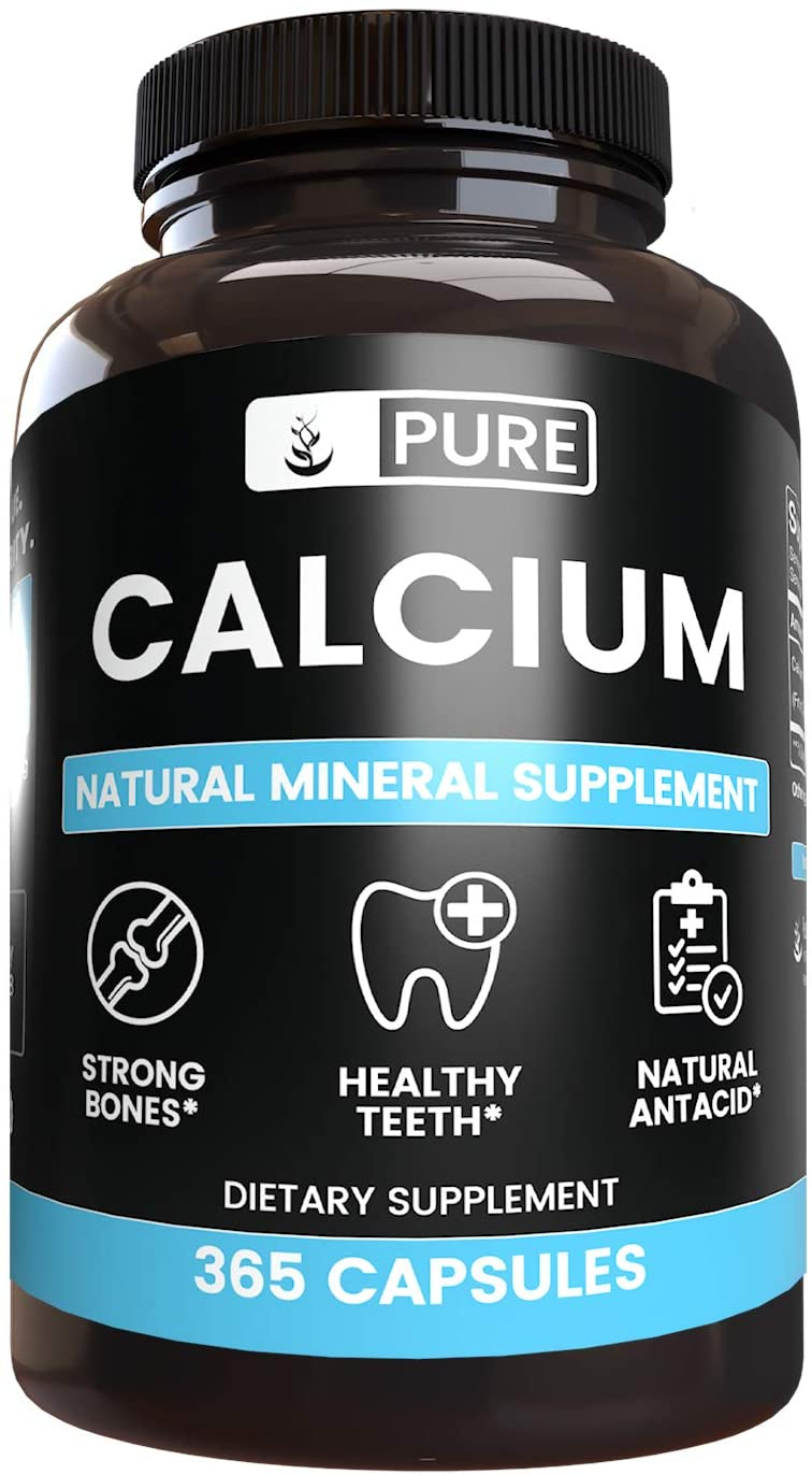 Calcium Carbonate, 365 Capsules, 1100mg Serving, Natural Mineral Supplement, Lab-Tested for Quality & Purity, Dairy-Free, Non-GMO, Gluten-Free, Bioavailable, Made in USA, Satisfaction Guaranteed