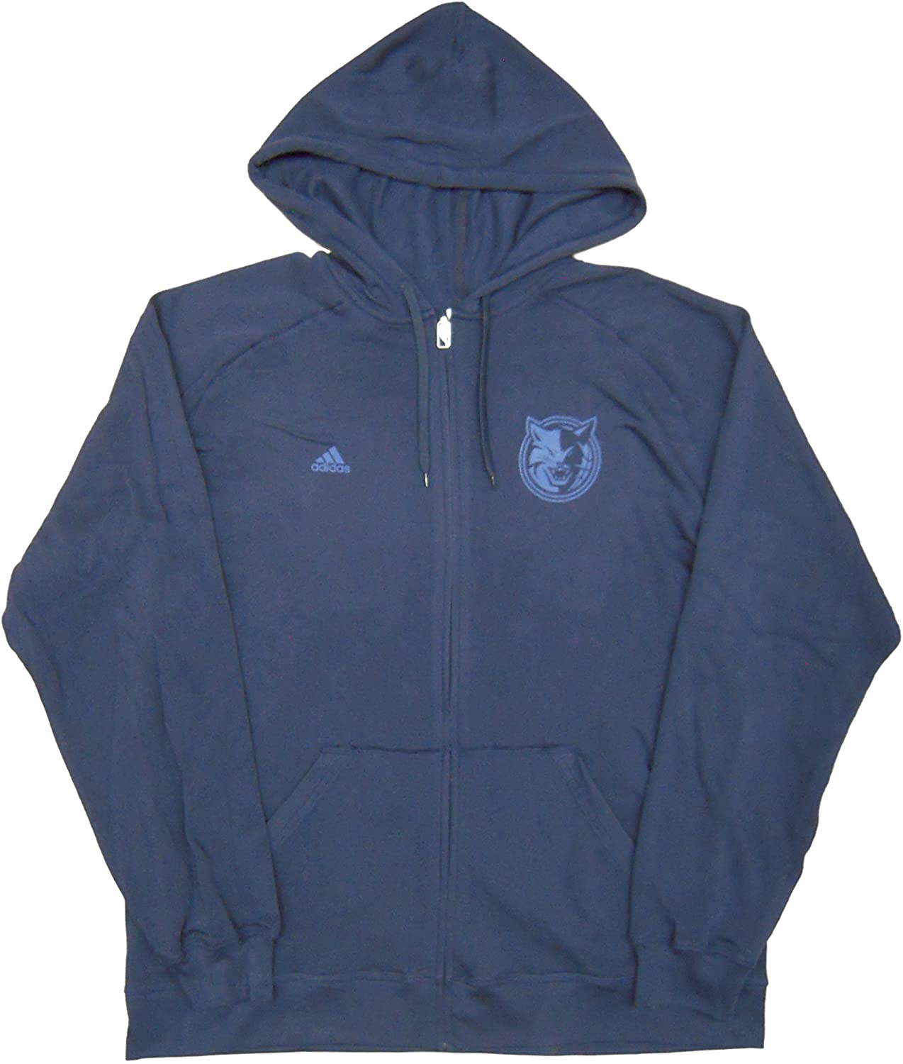 NBA Charlotte Bobcats Team Issued adidas Full-zip Hooded Sweatshirt Hoodie Navy - Size 4XL +2