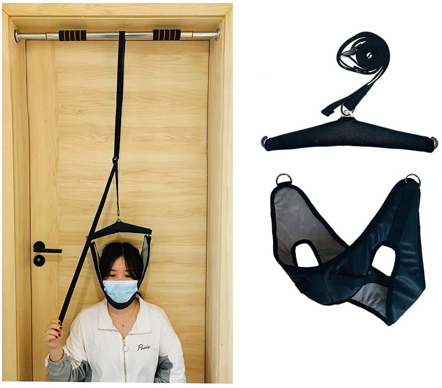 Cervical Traction Device Neck Over The Door Traction Stretcher Neck Spinal Decompression Devices Home Traction Unit Over Door Stretching Strap Harness Neck Disc Tension Relief (Black)